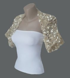 Knitted  Light Champagne Bolero Wedding Bolero Wedding Shrug Sleeves Wrap Weddings Bridal Bridesmaid Women. $49.00, via Etsy.