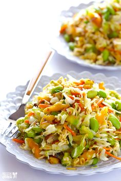Gimme Some Oven's Crunchy Asian Ramen Noodle Salad is sure to be a picnic favorite! Filled with crunchy ramen, edamame, almonds, mango and avocado, it's topped with a sweet honey vinaigrette. This will quickly become your party go to!