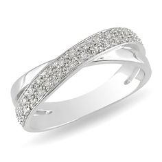 Sterling Silver Diamond Crossover Ring (0.16 cttw, H-I Color, I2-I3 Clarity):Amazon:Jewelry. I love this one!