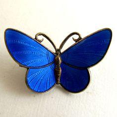 Vintage Sterling Blue Enamel Butterfly Pin