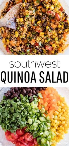 This easy southwest quinoa salad is made with a fresh vegetable mixture, homemade salad dressing and cooked quinoa. It's best served chilled and is the perfect cold side dish to bring to a BBQ, but is also hearty enough for a main meal.