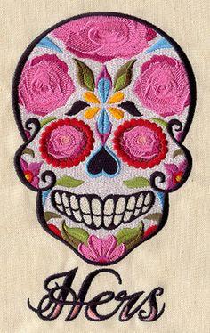 HERS Dia de los Muertos Sugar Skull Halloween Embroidered Terry Cloth Bath Towel via Etsy