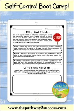 A self-control boot camp unit with lessons and activities to teach self-control, self-regulation, calming your emotions and more. Anger Management For Kids, Adhd Strategies, Impulse Control, Executive Functioning, Self Regulation, Self Control, Boot Camp, Google Classroom, How To Stay Motivated