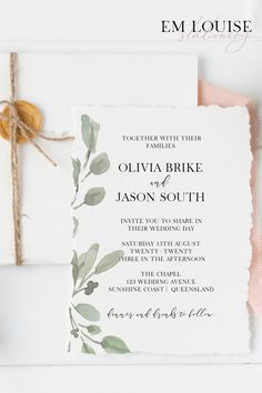 If you don't mind a little DIY to keep the budget on point, then this Greenery Wedding Invitation will make your day! It is super-easy to edit, download and print... a perfect complement to your garden or greenery wedding ♡ #weddinginvitationtemplate #DIYwedding #budgetwedding #printableweddinginvitation #gardenwedding