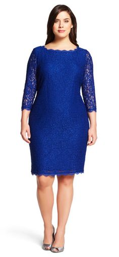 $195 - Size 14 - 22 - Adrianna Papell Lace Cocktail Sheath (also available in NAVY)