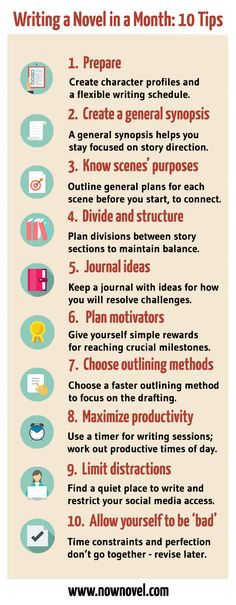 Streamlining your writing process is useful. Whether you're gearing up for a novel-writing challenge such as NaNoWriMo, or simply have a personal deadline. Here are 10 tips for writing a novel in a month: Creative Writing Tips, Book Writing Tips, Writing Words, Writing Process, Writing Resources, Writing Skills, Writing Help, Writer Tips, Story Writing Ideas