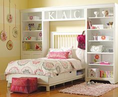 Great storage surrounding the bed!
