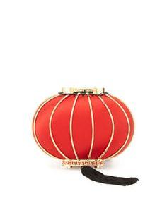 V23CS Charlotte Olympia Lantern Satin Minaudiere, Red