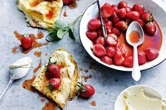 Coconut crepes with maple ricotta and strawberries