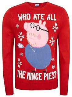 Cute Christmas Jumpers - Peppa Pig Daddy Pig Mince Pies Jumper | Men | George at ASDA