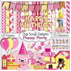 Puppy Party Digital Scrapbook Kit in Pink and Yellow w Birthday Clip art for Digital Scrapbooking, Card Making, Commercial Use OK