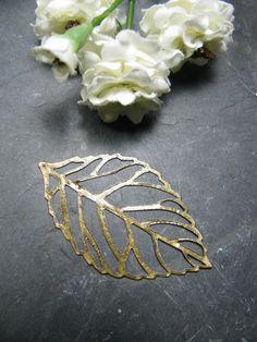 4 Metallanhänger, bronze farben, Blatt, 5,4x 3,2 cm, super für Ohrringe, Schmuck