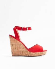 red cork wedge sandals