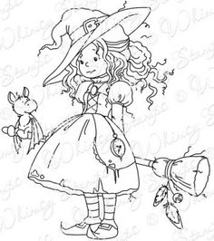 cute witch to embroider