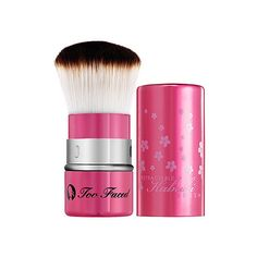 Too Faced Retractable Kabuki Brush ($32) ❤ liked on Polyvore featuring beauty products, makeup, makeup tools, makeup brushes, beauty, stuff, hair brush and too faced cosmetics