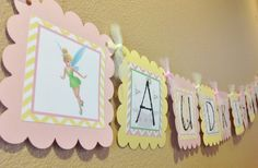 Peter Pan Inspired Birthday Banner - Pink & Yellow - Tinkerbell Captain Hook and Peter Pan - Party Packs Available