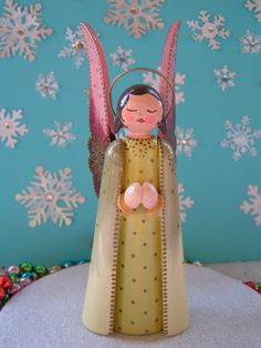 Vintage Erzgebirge Wooden Angel Figurine
