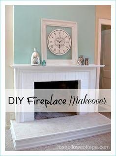 DIY Fireplace Mantel and Hearth Makeover - Fox Hollow Cottage DIY Kamin Mantel und Herd Makeover - Fox Hollow Cottage Diy Fireplace Mantel, White Fireplace, Fireplace Remodel, Fireplace Ideas, Brick Fireplace, Fireplace Makeovers, Fireplace Cleaning, Corner Fireplaces, White Mantle