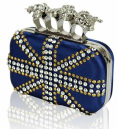 Spectacular Union Jack Navy Blue Sparkling Crystal Party Prom Skull Knuckle Evening Clutch Bag (20cm x 12cm) with PreciousBags Dust Bag