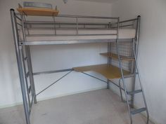 Dull Silver Metal Coloured Single Bunk Bed Frame 3ft - No Mattress Included