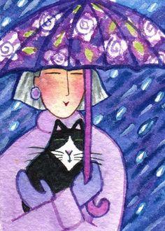 RAINDROPS and KITTEN ~ Cat Lady Art ~ by Susan Faye