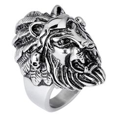 Hohe Qualität Löwenkopf Finger Ring Für Männer Mode Punk Stil Männlichen Ring Schmuck 2017 Größe 7-10