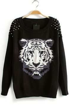 In Studded Size Medium Moche Graphic Impression Tigre Black Tiger Pullover Pull qrZHtcUr