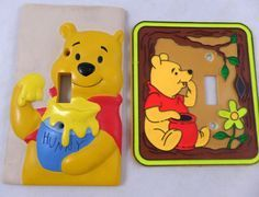 2 winnie the Pooh LIght Switch Cover Lot Disney Vintage HP & Resin Set