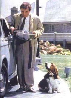 Columbo (Peter Falk) and basset hound! Cool Pet Names, Dog Names, Columbo Peter Falk, Detective, Old Shows, Bloodhound, Hound Dog, Mans Best Friend, Dog Life