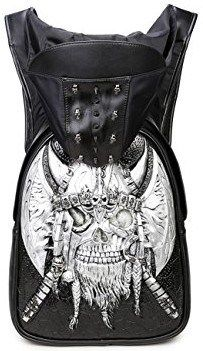 Skull Rivets Hooded Leather Backpack Leather Backpack 3b3161a711228