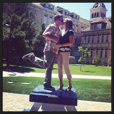 Well, lookey who #kissed on the #USU A today! We've been #TrueAggies for almost two decades, but happy to kiss here again. #kiss #kiss #kiss #kiss #kiss #aggies