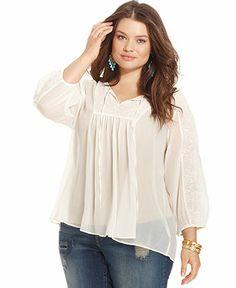 Jessica Simpson Plus Size Three-Quarter-Sleeve Peasant Top - Plus Size Tops - Plus Sizes - Macy's