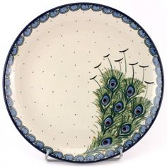 Modern version of traditional peacock eye is just so beautiful! Polish Pottery from http://slavicapottery.com