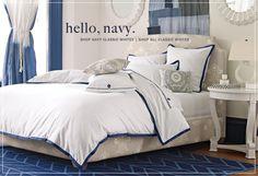 navy and white duvet