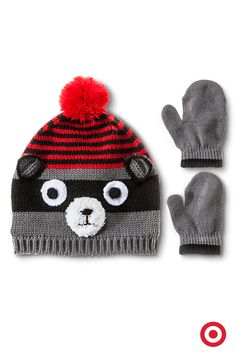 Here's a cute find for your toddler—or a great gift idea. This cozy raccoon hat and mittens set makes layering for winter a lot more fun.