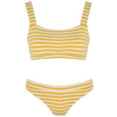 Solid and Striped The Madison Mustard Stripe Rib (795 ILS) ❤ liked on Polyvore featuring swimwear, bikinis, striped bikini bottoms, low rise bikini bottom, striped bikini top, bikini swimwear and two piece bikini