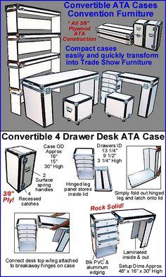Convertible ATA Case Convention Furniture 4 Drawer Desk