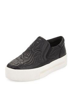 Kong Embossed Leather Sneaker, Black