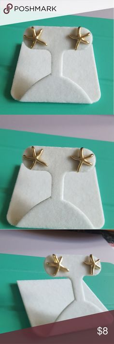 Gold plated starfish post earrings Gold plated, yellow tone, starfish post earrings. Backs included. Jewelry Earrings