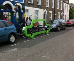 New cycle parking in Cambridge, 8 bikes parked in one car space #ilovemybike