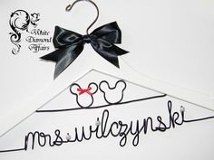 Mickey and Minnie Mouse Disney Themed Wedding Dress Hanger, Personalized Bridal Hanger, Personalized Bridal Gift - Rush delivery available by WhiteDiamondAffairs on Etsy https://www.etsy.com/listing/122421001/mickey-and-minnie-mouse-disney-themed