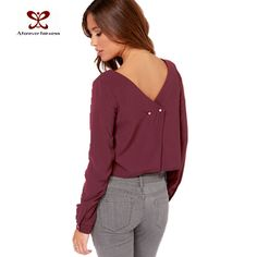 Women New Pretty Burgundy Long Puff Sleeve Crew Collar Short Back V Neck Sexy Top Double Chiffon Shirt Blouse 2015 New Arrival