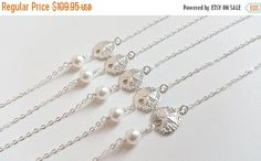 ON-SALE FIVE Set Sand Dollar and Pearl by weddingbellsdesigns