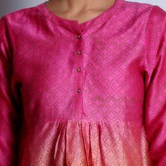 Pink & Orange Chanderi Hand Block Printed Short Kurta With Button Details & Gathers On Front Salwar Pattern, Kurta Designs Women, All About Fashion, Printed Shorts, Salwar Kameez, Tunic Tops, Buttons, Indian, Suits