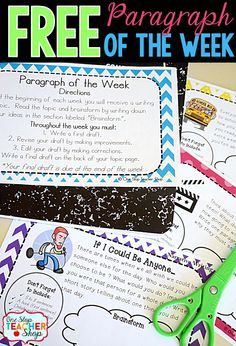 Free Paragraph Writing resource. Paragraph of the Week is a simple way to get students writing and improve paragraph writing skills.  Try it free!