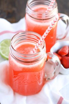 Strawberry Limeade recipe from @livewellbake - An easy four ingredient strawberry limeade recipe that's ready in less than 10 minutes!  A perfect drink for Spring!