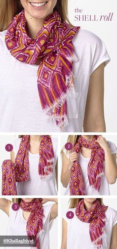 Cute way to tie a scarf Tie the knot: the Shell Roll, featuring the Soft Fringe Scarf in Clementine Ikat Ways To Tie Scarves, Ways To Wear A Scarf, How To Wear Scarves, Fall Fashion Trends, Autumn Fashion, Mode Style, Style Me, Scarf Knots, Diy Vetement