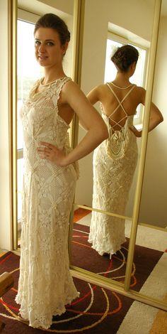 Crocheted wedding dress by Jolantadresses on Etsy, $500.00