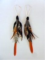 Sterling Silver Geometric Hoops With Orange & Brown Feathers Taiana Design Hand Felted Scarves / Wraps / Blankets / Accessories