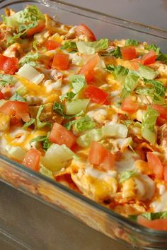 This is a super speedy dinner I like to make when it is getting late and I haven't cooked yet. Chili, corn chips and cheese are topped with lettuce and tomato. Spice it up with your favorite salsa… Taco Bake Casserole, Cowboy Casserole, Beef Casserole Recipes, Casserole Dishes, Meat Recipes, Mexican Food Recipes, Salad Recipes, Recipies, Cooking Recipes